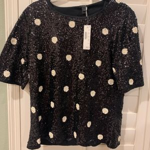 JCrew Polka Dot Sequin Blouse